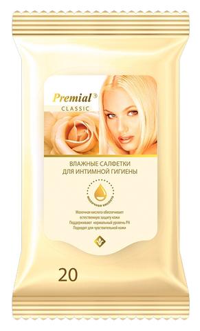 Салфетки влажные Premial для женской интимной гигиены с молочной кислотой 20 шт. (Bumfa)