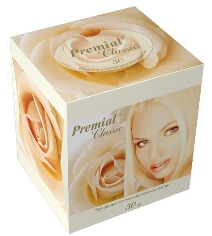 Салфетки косметические Premial 3 слойные в коробке (Нон стоп) 50 шт. (Bumfa)