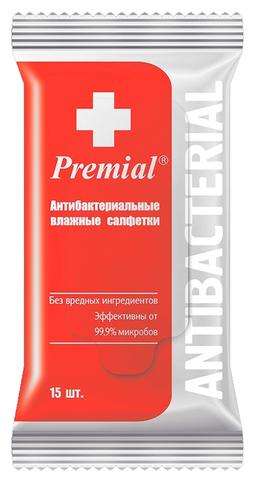 Салфетки влажные Premial Антибактериальные 15 шт. (Bumfa)