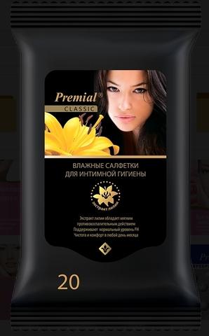 Салфетки влажные Premial для женской интимной гигиены с экстрактом лилии 20 шт. (Bumfa)