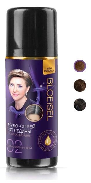 Bloeisel Чудо-спрей от седины для женщин, тон 01 черный, 75мл.